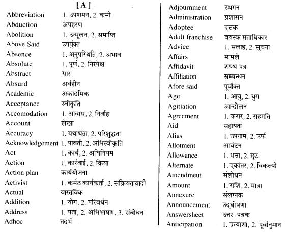 पारिभाषिक शब्दावली कक्षा 12 RBSE Solution