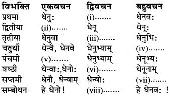 संस्कृत में शब्द रूप Class 6 RBSE