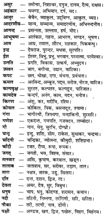 Paryayvachi Shabd In Hindi RBSE