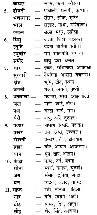 Class 9 Paryayvachi Shabd RBSE