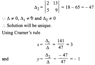 RBSE Class 10 Maths Chapter 5.2 Inverse Of A Matrix And Linear Equations