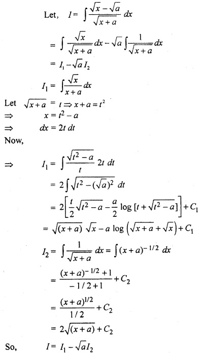 Class 12th Maths RBSE Solution Integration Miscellaneous Exercise