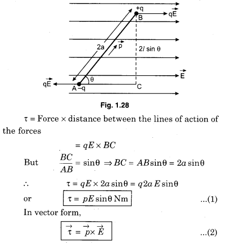 RBSE Class 12 Physics Electric Field