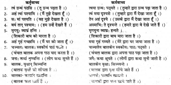 संस्कृत में वाच्य परिवर्तन के उदाहरण RBSE Class 10