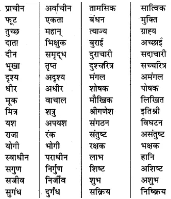 Vilom Shabd In Hindi For Class 7th RBSE