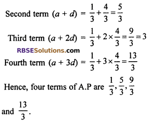 RBSE Solutions For Class 10 Maths Chapter 5 Arithmetic Progression Ex 5.1