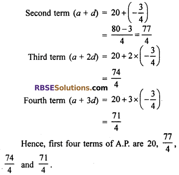 RBSE Class 10 Maths Chapter 5 Arithmetic Progression Ex 5.1