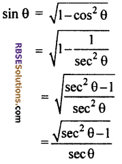 RBSE Solutions For Class 10 Maths Chapter 7 Trigonometric Identities Ex 7.1 1