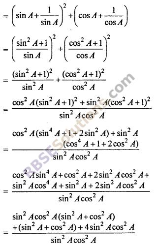 RBSE Class 10th Maths Chapter 7 Trigonometric Identities