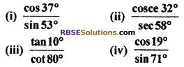Exercise 7.2 Class 10 RBSE Trigonometric Identities