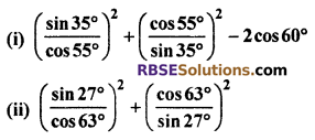 RBSE Solutions For Class 10 Maths Chapter 7 Ex 7.2 Trigonometric Identities
