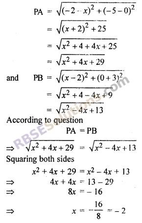Class 10 Maths Chapter 9 RBSE Co-ordinate Geometry Ex 9.1