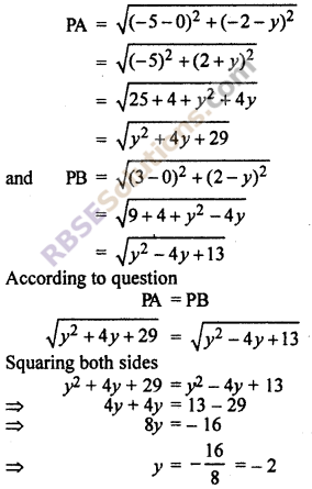 RBSE Class 10 Maths Solution Ex 9.1 Co-ordinate Geometry