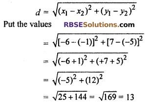 Coordinate Geometry Class 10 RBSE Chapter 9 ex 9.1
